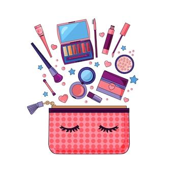 Ilustração de detalhes de cosméticos e maquiagem