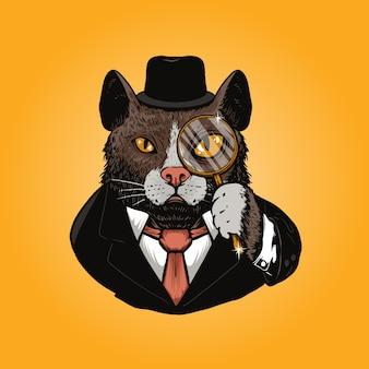 Ilustração de detetive de gato