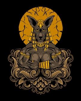 Ilustração de deus anúbis com ornamento de gravura Vetor Premium