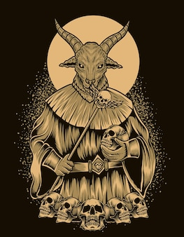 Ilustração de deus bafomé com cabeça de caveira