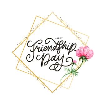 Ilustração de dia amizade com texto e elementos