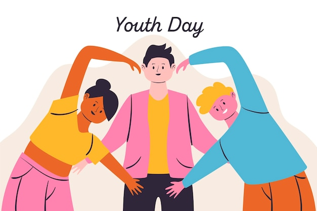 Ilustração de dia da juventude com pessoas formando um coração