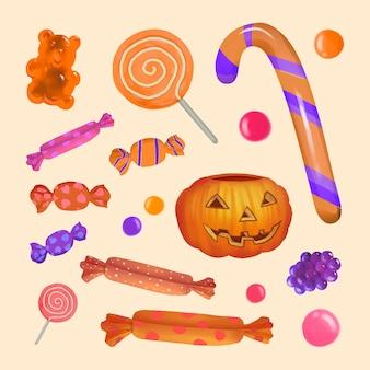 Ilustração, de, dia das bruxas, tema, bala doce, ícone