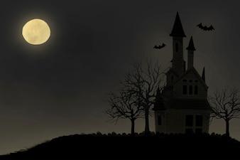 Ilustração, de, dia das bruxas, themed, fundo