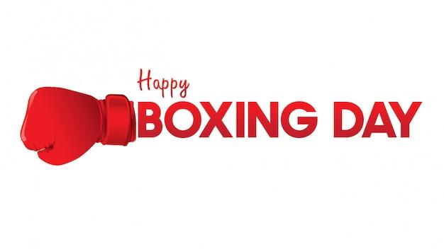 Ilustração de dia de boxe. tipografia combinada em uma forma de luvas de boxe