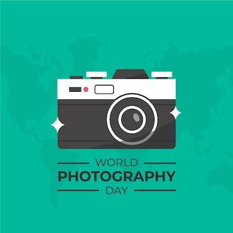 Ilustração de dia de fotografia de mundo de design plano