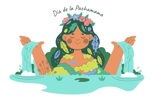 Ilustração de dia de la pachamama desenhada à mão