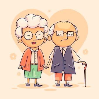 Ilustração de dia de los abuelos desenhada à mão