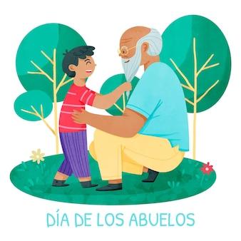 Ilustração de dia de los abuelos pintada à mão em aquarela