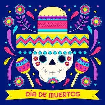 Ilustração de dia de muertos desenhada à mão
