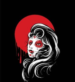 Ilustração de dia de muertos feminino, perfeita para design de camisetas, roupas ou mercadorias