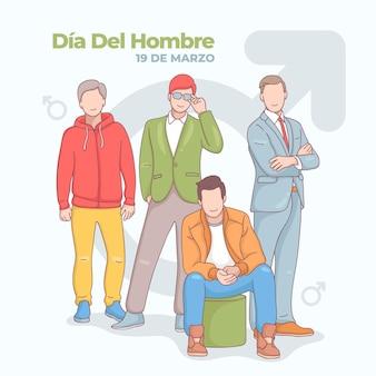 Ilustração de dia del hombre desenhada à mão