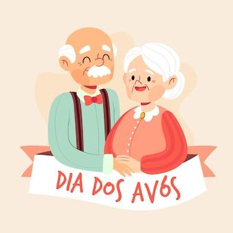 Ilustração de dia dos avós desenhada à mão