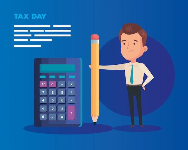 Ilustração de dia fiscal com caráter de empresário