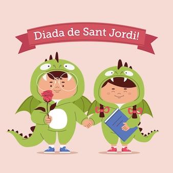 Ilustração de diada de sant jordi desenhada à mão com cavaleiro e princesa em fantasias de dragão