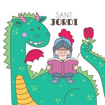Ilustração de diada de sant jordi desenhada à mão com cavaleiro lendo livro sobre dragão