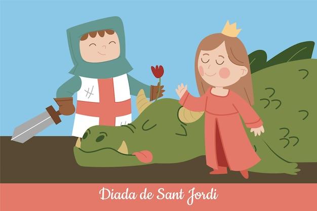 Ilustração de diada de sant jordi desenhada à mão com dragão, cavaleiro e princesa