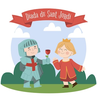 Ilustração de diada de sant jordi desenhada à mão com o cavaleiro e a princesa