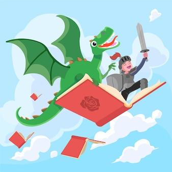 Ilustração de diada de sant jordi desenhada à mão com o cavaleiro e o dragão voando no livro