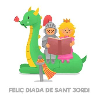 Ilustração de diada de sant jordi desenhada à mão