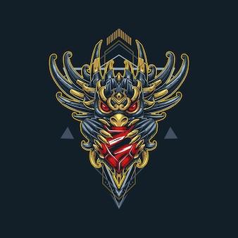 Ilustração de diamante de dragão no estilo ciborgue