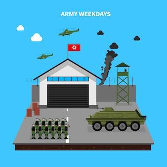 Ilustração de dias de semana do exército