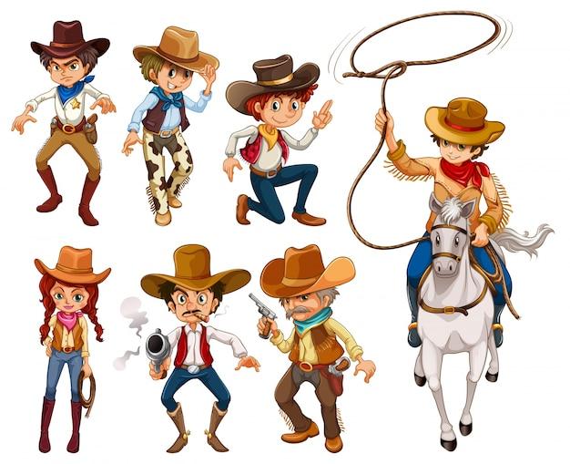 Ilustração de diferentes poses de vaqueiros