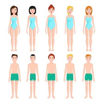 Ilustração de diferentes tipos de formas corporais.