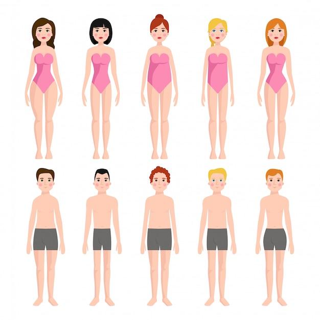 Ilustração de diferentes tipos de formas de corpo, personagens de pé beleza figura modelo de desenho animado