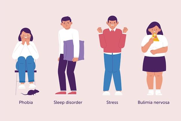 Ilustração de diferentes transtornos mentais