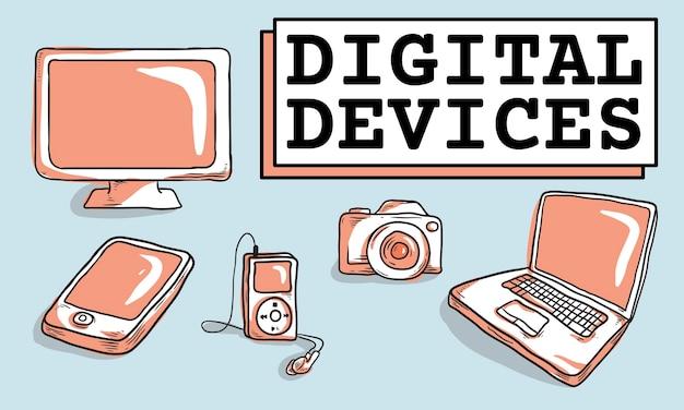 Ilustração, de, digital, dispositivos, cobrança