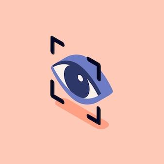 Ilustração de digitalização de reconhecimento ocular