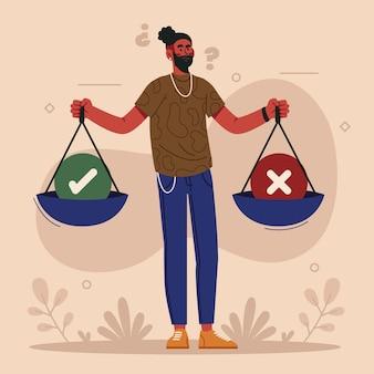 Ilustração de dilema ético