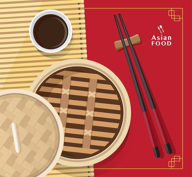 Ilustração de dim sum de comida chinesa, comida asiática dim sum no vaporizador