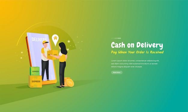 Ilustração de dinheiro na entrega, pagar em dinheiro após a entrega do pacote