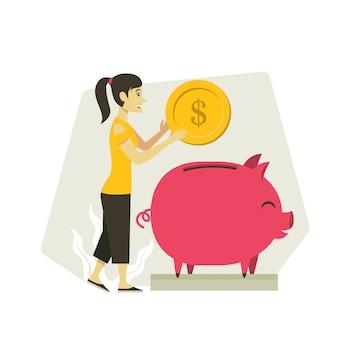 Ilustração de dinheiro poupança mulher