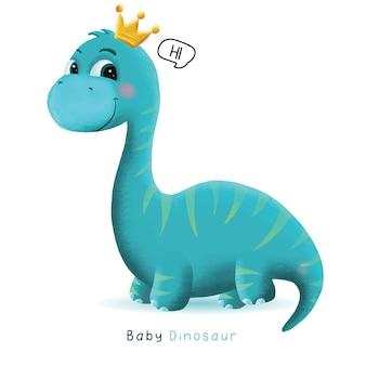 Ilustração de dinossauro bebê fofo desenhado à mão
