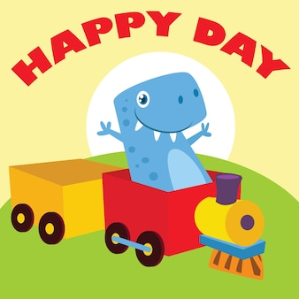 Ilustração de dinossauro dos desenhos animados para crianças.
