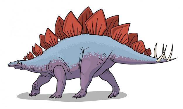 Ilustração de dinossauro estegossauro em estilo cartoon.