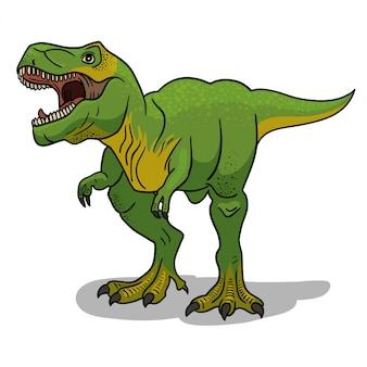 Ilustração de dinossauro tiranossauro rex em estilo cartoon.