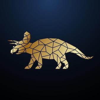 Ilustração de dinossauro triceratops geométrico dourado