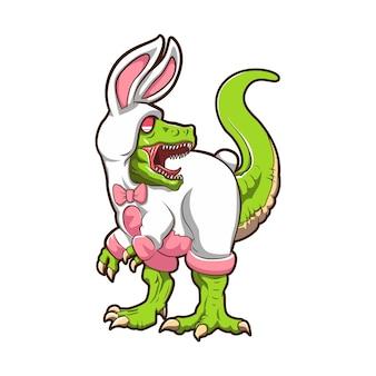 Ilustração de dinossauro vestindo fantasia de coelho desenho vetorial