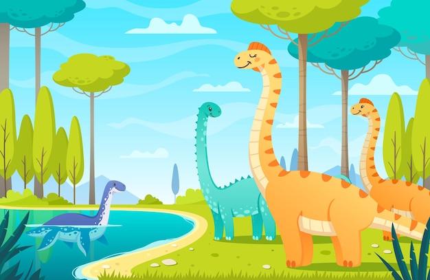 Ilustração de dinossauros no lago