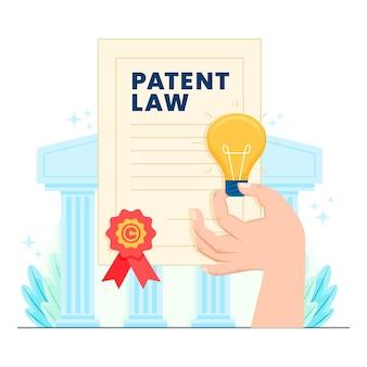 Ilustração de direitos autorais de lei de patente