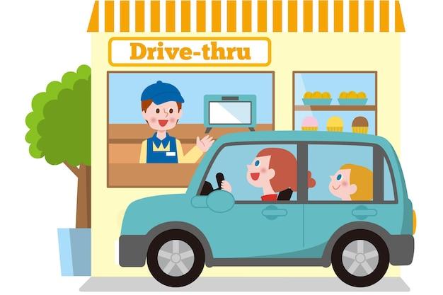 Ilustração de dirigir pela janela com carro