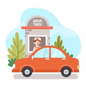 Ilustração de dirigir pela janela