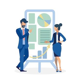 Ilustração de discussão de apresentação de negócios
