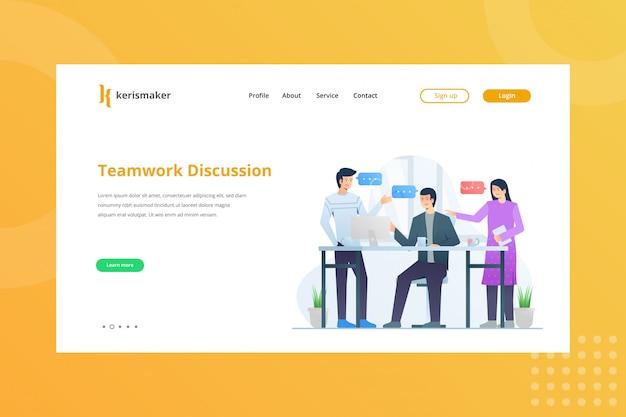 Ilustração de discussão de trabalho em equipe para o conceito de gestão de negócios na página inicial
