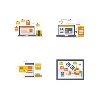 Ilustração de dispositivo e nota auto-adesiva