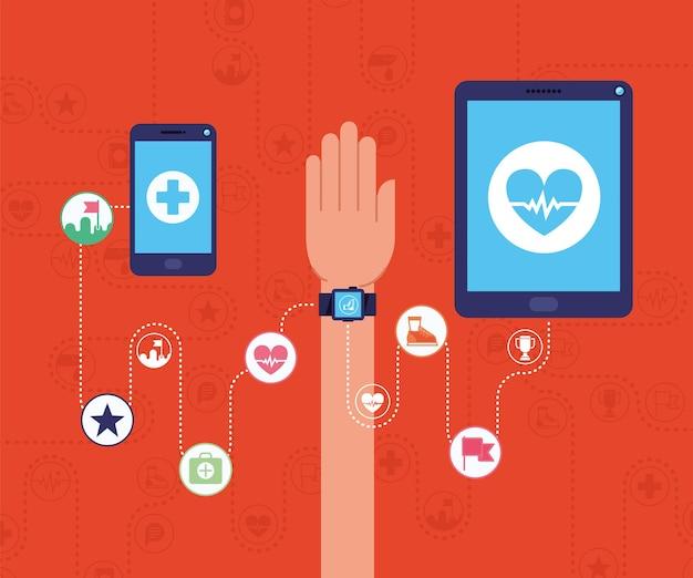 Ilustração de dispositivos de saúde com aplicativos